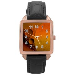 Abstraction Color Closeup The Rays Rose Gold Leather Watch