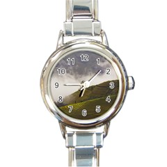 Agriculture Clouds Cropland Round Italian Charm Watch