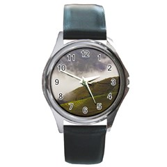 Agriculture Clouds Cropland Round Metal Watch