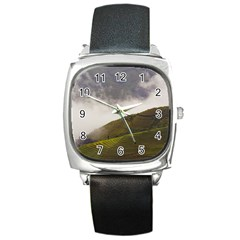 Agriculture Clouds Cropland Square Metal Watch
