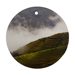 Agriculture Clouds Cropland Round Ornament (two Sides)
