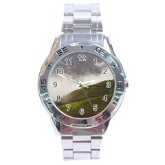 Agriculture Clouds Cropland Stainless Steel Analogue Watch