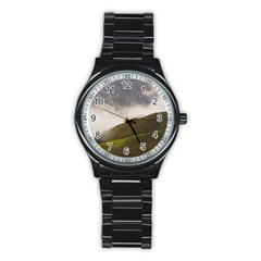 Agriculture Clouds Cropland Stainless Steel Round Watch