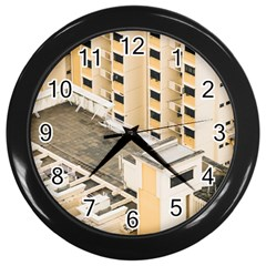 Apartments Architecture Building Wall Clocks (black)