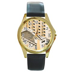 Apartments Architecture Building Round Gold Metal Watch