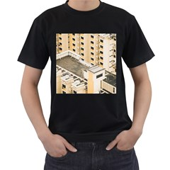 Apartments Architecture Building Men s T Shirt (black) (two Sided)