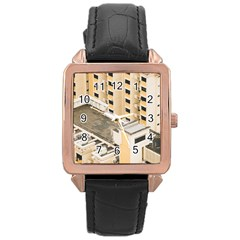 Apartments Architecture Building Rose Gold Leather Watch