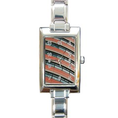Architecture Building Glass Pattern Rectangle Italian Charm Watch