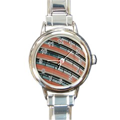 Architecture Building Glass Pattern Round Italian Charm Watch