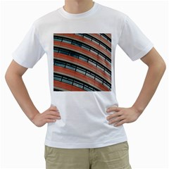 Architecture Building Glass Pattern Men s T-Shirt (White) (Two Sided)