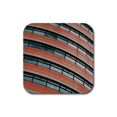 Architecture Building Glass Pattern Rubber Square Coaster (4 Pack)