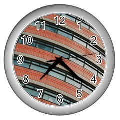Architecture Building Glass Pattern Wall Clocks (silver)