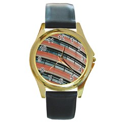 Architecture Building Glass Pattern Round Gold Metal Watch
