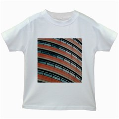 Architecture Building Glass Pattern Kids White T Shirts