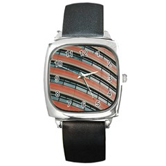 Architecture Building Glass Pattern Square Metal Watch