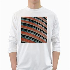 Architecture Building Glass Pattern White Long Sleeve T Shirts