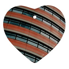 Architecture Building Glass Pattern Heart Ornament (two Sides)