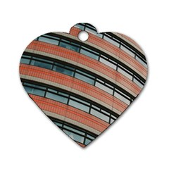 Architecture Building Glass Pattern Dog Tag Heart (One Side)