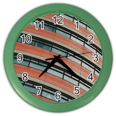 Architecture Building Glass Pattern Color Wall Clocks