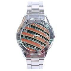 Architecture Building Glass Pattern Stainless Steel Analogue Watch