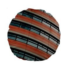 Architecture Building Glass Pattern Standard 15  Premium Round Cushions