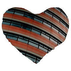 Architecture Building Glass Pattern Large 19  Premium Heart Shape Cushions