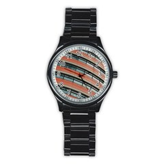 Architecture Building Glass Pattern Stainless Steel Round Watch