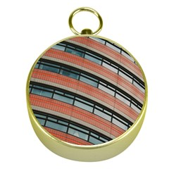 Architecture Building Glass Pattern Gold Compasses