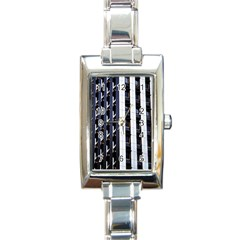 Architecture Building Pattern Rectangle Italian Charm Watch