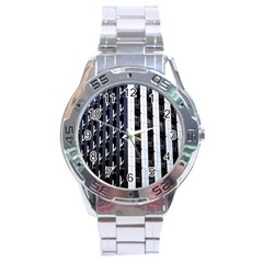 Architecture Building Pattern Stainless Steel Analogue Watch