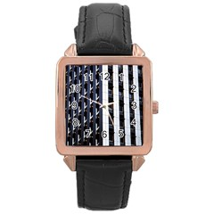 Architecture Building Pattern Rose Gold Leather Watch