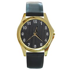 Background Lines Design Texture Round Gold Metal Watch