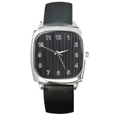 Background Lines Design Texture Square Metal Watch