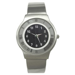Background Lines Design Texture Stainless Steel Watch