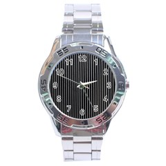 Background Lines Design Texture Stainless Steel Analogue Watch
