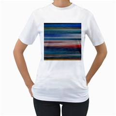 Background Horizontal Lines Women s T Shirt (white) (two Sided)