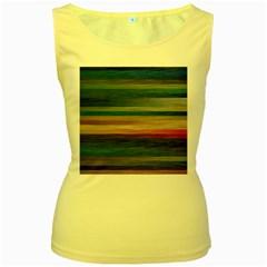 Background Horizontal Lines Women s Yellow Tank Top