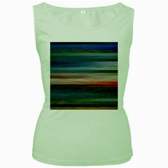 Background Horizontal Lines Women s Green Tank Top