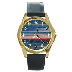 Background Horizontal Lines Round Gold Metal Watch