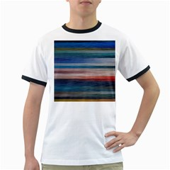 Background Horizontal Lines Ringer T Shirts