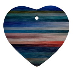 Background Horizontal Lines Heart Ornament (two Sides)
