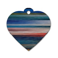 Background Horizontal Lines Dog Tag Heart (two Sides)