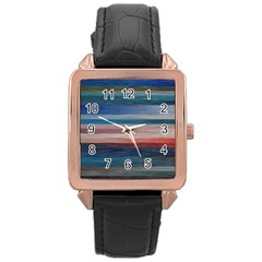 Background Horizontal Lines Rose Gold Leather Watch