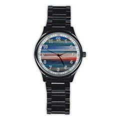 Background Horizontal Lines Stainless Steel Round Watch
