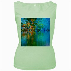 Background Texture Structure Women s Green Tank Top