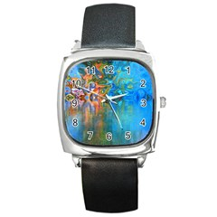 Background Texture Structure Square Metal Watch
