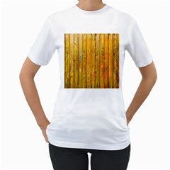 Background Wood Lath Board Fence Women s T Shirt (white) (two Sided)