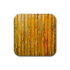 Background Wood Lath Board Fence Rubber Coaster (square)