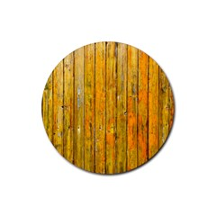 Background Wood Lath Board Fence Rubber Round Coaster (4 Pack)