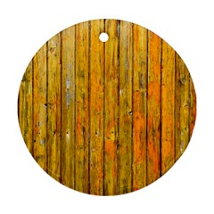 Background Wood Lath Board Fence Round Ornament (two Sides)